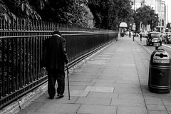 The Slow Lane (Peter Murrell) Tags: walking oldman elderly aged walkingstick slowlane slow pedestrian bw streetphotography london maryleboneroad