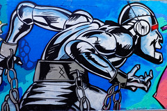 Paris - Ordener - Inmate Cyborg (MoTH4FoK) Tags: moth4fok urbex urban urbaine explo exploration exploring paris france tag graff graffiti ordener inmate cyborg street art streetart multi colored multicolored bleu blue