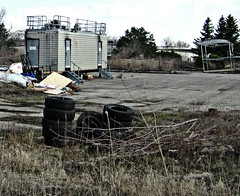 (AmyEAnderson) Tags: trailer outdoor abandoned forgotten discarded trash lot empty vacant tires weeds overgrown middleton wisconsin