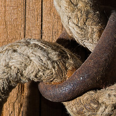 Rust, Rope And Old Weathered Wood.  (Explore #14) (Romair) Tags: macromondays texture rope rust weatheredwood rogerjohnson
