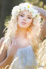 Sadie (austinspace) Tags: woman portrait palouse spokane washington canola cemetery grasses highgrass blond blonde hippie sunset dusk magichour wheat field farm wreath bare lips summer