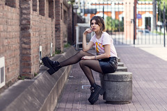 Yae Distrito Centro 13 (Matias Terré - Fotografía Creativa) Tags: portrait girl city winter people street travel urban architecture fashion woman adult telephone pavement sexy book hot one outdoors exterior session test urbano moda skirt modelo luggage sesion invierno long socks