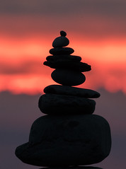 Sunset cairn on South Beach, Aberystwyth (DP the snapper) Tags: aberystwyth pebbles sunset southbeach cairn