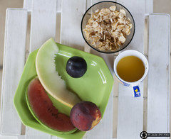 Breakfast (julian.lopez.perdiz) Tags: food pornfood 50mm green light orange fruit cereal white peaches cup summer outdoors natural nature texture composition sun vacation pretty canon