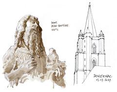 Donzenac (gerard michel) Tags: france limousin donzenac église statue gothique sketch croquis aquarelle watercolour