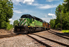 Departing Springfield (Wheelnrail) Tags: io iory oc ohio central emd sd402 locomotive rail road train trains bridge washington court house b turn local freight springfield quincy