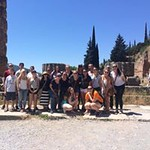 Honors students pose together at the Temple of Hera.