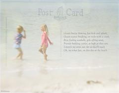 Friendship (jm atkinson) Tags: lensbaby beach play texture girls midcoastmaine poem postcard 7dwffree