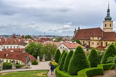 Mala Strada garden (jmarnaud) Tags: czech 2017 prague mala strana summer garden walk old building city statue tree church