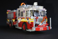 """FDNY Engine 273 """"NY Mets"""" and FDNY Ambulance 1218 (sponki25) Tags: fdny seagrave marauder ii pumper engine company 273 fire department newyork nyc ny lego moc mets baseball flushing queens manhattan ladder 129 1218 ambulance ford fseries f450 wheeledcoach style4bike franco loreck radeberg reflective tape"""