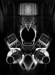 BNW Tower Of Power (jgesq) Tags: camera vintage lightpainting light lightbrushtools lightpaintingbrushes lightblading godlight stills stilllife neon bright color illustration design popart fineart streak streaks bnw monochrome artgallery studio fire iron metal steel