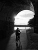 Ride into the Sun (mhoffman1) Tags: 4thofjuly eastriverdrive fairmountpark kellydrive philadelphia philly schuylkillriver schuylkillrivertrail sonyalpha a7r arch bicyclist biking blackandwhite exercise female monochrome overpass path riverside silhouette summer pennsylvania unitedstates us