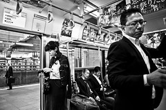 Metro Scene.... (Victor Borst) Tags: street streetphotography reallife real realpeople asia asian asians faces face canon5dmarkii candid canon travel travelling trip traveling urban urbanroots urbanjungle smartphone blackandwhite bw re mono monotone monochrome yamanote metro subway streetlife mankind tokyo city cityscape citylife japan japanese