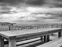 Laco(o)rniche _ Pyla sur mer#Black & White. (delphine imbert) Tags: dune du pilat landes de gascogne horizon vue panoramique noir blanc monochrome dejeuner gastronomie designer starck bois sable ciel nuages transparence paysage dimanche