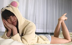 Sweet Cuti-Cutease (emotiroi auranaut) Tags: cute girl woman lady pretty adorable charm charming beauty beautiful model costume cosplay bear suit rilakkuma face hands coat legs feet toes foot barefoot paws bed song music tease teasing