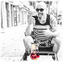 A nice jug of Sangria. (CWhatPhotos) Tags: puerto del la cruz tenerife going holiday holidays photographs photograph pics pictures pic picture image images foto fotos photography artistic that have which with contain olympus esystem four thirds digital camera lens 43 mft micro cwhatphotos me portrait tattoo tattooed tattoos tatts inked tribal shoulders chest blue goatee beard pose drink drinking relax relaxed male man