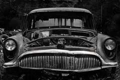 Empty headed (hutchphotography2020) Tags: buick antiquebuick junkyard mono grill blackandwhite nikon hutchphotography