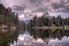 Trakoscan Sunset (Dino Barsic) Tags: lake water reflection nature tree landscape river outdoors sky panorama wood travel mountain scenic castle trakoscan europe croatia skyline purple sunset dusk clouds sun old dark forest hill medieval