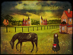Something evil is going this way... (bdira3) Tags: country cottages horse field girl rooster naive art dark disturbing