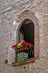 Castel Arquato_Centro storico - fiori alla finestra (gio.pas_sm) Tags: castellarquato piacenza medievale finestre fiori