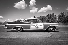 The County Line (drei88) Tags: 1961 chrysler newyorker policecar vintage gumball sheriff county deputy lawenforcement tailfins blackandwhite classic andytaylor