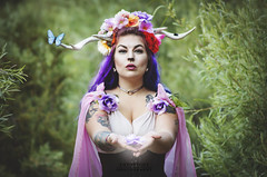 Offering (Sintar) Tags: faun fae fantasy fantasymodel fantasyshoot fantasyphotography amportunephotography beauty flowers antlers headpiece butterfly
