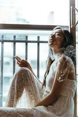 Up in smoke (Gracia Chua Min Yi) Tags: female portrait smoking smoke canon5dmkiv 50mmf12 white dress lace asian girl window