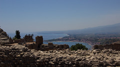 Sicily - view from Greek Theater (pavlinajane) Tags: sicilly cold outdoor summer hot white italy water day drink board edge beer travel glass one pool side swimmingpool mug italian froth nature green foam nobody background fun camping campfire cooking family flame fire calabria bonfire adventure meal activity aspromonte autumn food bbq light barbecue picnic roasted sausage hiking forest greek theater