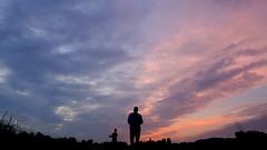 i love my camera (kestercrosberger) Tags: sunset sun people portrait perspective sky half pink evening dusk friends friend nature silhouette contrast cloud clouds horizon