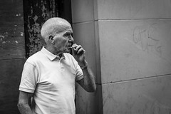 Luck of the Draw (Leanne Boulton) Tags: monochrome people urban street candid portrait portraiture streetphotography candidstreetphotography candidportrait streetportrait streetlife elderly man male face facial expression profile look emotion feeling smoke smoker smoking cigarette dutchangle tone texture detail depthoffield naturallight outdoor light shade shadow sociallandscape city scene human life living humanity society culture canon canon5d 5dmkiii 70mm character ef2470mmf28liiusm black white blackwhite bw mono blackandwhite glasgow scotland uk