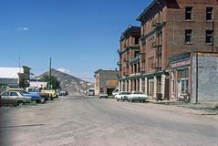 Goldfield, NV - Downtown - 1985 (tonopah06) Tags: goldfield nevada esmeraldacounty nv 1985 miningcamp goldcamp ghosttown columbiaavenue columbiaave columbiamountain goldfieldhotel kodachrome
