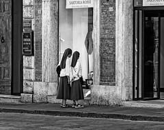 """ Sisters "" (pigianca) Tags: italy siena monochrome blackwhite streetphoto urbanphoto fujixt1 fujinon90mmf2"