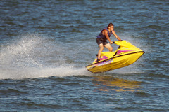 Bunny Hop (clare.blandford) Tags: calshot southamptonwater beach hampshire yellow jet ski