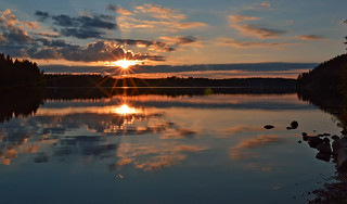 Sunset on the lake. Finland, summer �
