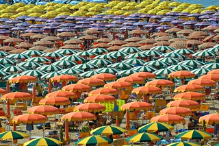 Zooming on the beach umbrellas of Gabicce Mare