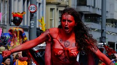 Carnival 2017 048 (byronv2) Tags: peoplewatching candid street performer carnival festivalcarnival edinburghjazzbluesfestival festival festivalcarnival2017 carnival2017 colour colours costume princesstreet newtown edinburgh edimbourg scotland edinburghjazzbluesfestivalcarnival woman girl pretty redwoman bodypaint bikini cleavage downblouse boobs breasts sexy painted tattoo