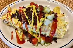 cheeseburger omelette IHOP (Fuzzy Traveler) Tags: cheeseburger omelette cheeseburgeromelette groundbeef mustard ketchup pickles americancheese eggs onions tomatoes breakfast ihop restaurant food