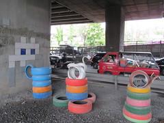 Space Invader BGK_51 (tofz4u) Tags: bangkok krungthep thailand thailande bgk51 paris streetart artderue invader spaceinvader spaceinvaders mosaïque mosaic tile street rue car voiture pneu tire