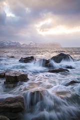 Lofoten Rocks (Geoff_F) Tags: lofoten waves water winter cold ocean mountain sunset fujifilm xt2 norway landscape