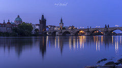 Prague - Blue hour (iosif.michael) Tags: sony a7 bluehour prague lights sky water blue longexposure charlesbridge europe travel urban