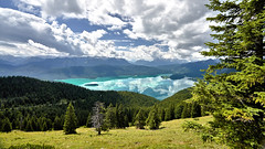 Lake Walchensee Panorama (W_von_S) Tags: lakewalchensee bavaria bayern landschaft landscape natur nature jochberg alpen alps türkis turquoise wvons werner sony juli july 2017 berg see wald himmel sky clouds wolken spiegelung reflection water mountains berge panorama
