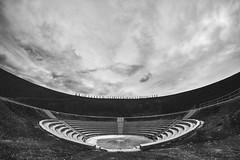 ARENA (Blende1.8) Tags: haldehaniel bottrop nrw ruhrgebiet outdoor outdoors arena theater symmetry symmetrie pitheadstocks kohlenhalde landmark landmarke architecture nopeople menschenleer sky himmel monochrome monochrom mono sony alpha 6300 a6300 ilce6300 walimex fisheye fischauge weitwinkel ultraweitwinkel carstenheyer bergtheater