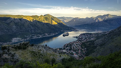 Early morning arrival (Dan_Fr) Tags: sky landscape sunrise morning kotor montenegro dalmatia europe water nature travel coast ship mountain dawn valley outdoor bay cruise citadel scenic sunray fortification sony a7r