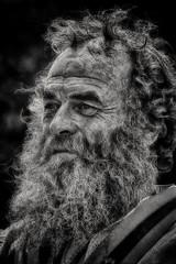 Bearded Man (Andy J Newman) Tags: mendipdistrict england unitedkingdom gb man oldman beard grey silver wrinkle nikon d500 silverefex show bristol bath