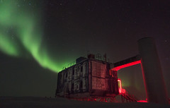IceCube Lab and Aurora (redfurwolf) Tags: southpole antarctica night sky icecubelab icecube outdoor auroraaustralis aurora stars nightsky nightphotography building architecture nature redfurwolf sony rx100m4