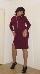 her new dress (Barb78ara) Tags: reddress darkreddress highheels heels stilettoheels stilettohighheels slitteddress