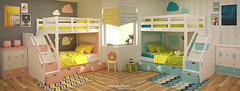 Left or Right? 2016.07.11 (HuonghaPham) Tags: room bedroom kid child children pink blue yellow green young interior design furniture