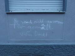 An-Tür-Mal-Verbot (mkorsakov) Tags: dortmund nordstadt hafen graffiti tagging parole verbot wand wall grau grey kreide chalk wtf
