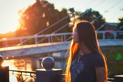 Summer gold (Oksana Yefimenko) Tags: girl girls summer summertime july water river bridge portrait warm gold golden walk nice beautiful hair sun sunny sunset hour goldenhour 50mm canon