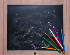 Apple and chalkboard. (lyule4ik) Tags: school student background board chalkboard back black blackboard chalk education fruit green paper wood book class classroom college color concept copy copyspace desk drawing learn life notebook notepad pen pencil product red space study supplies table teach tools university wooden write abc teacher alphabet letters backtoschool books closeup